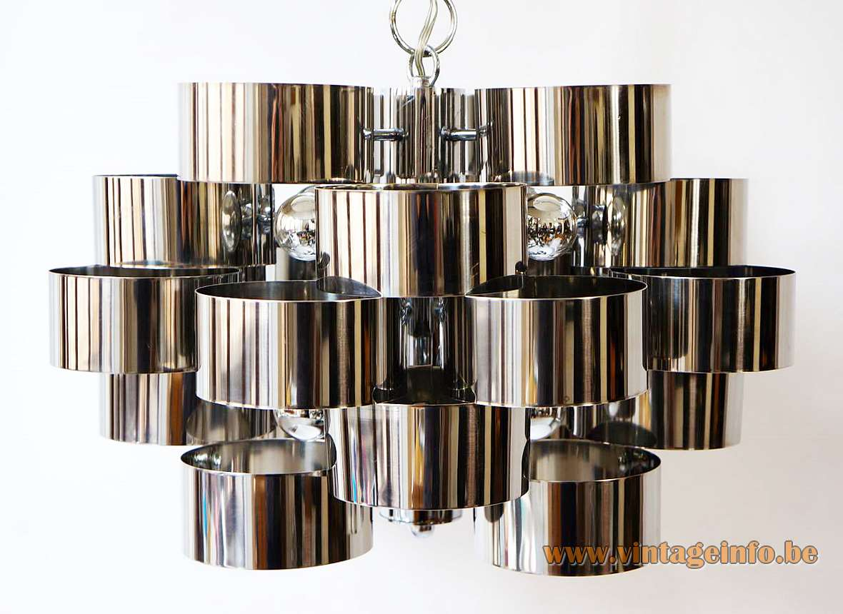 1970s stainless steel cylinders chandelier stacked metal rings round chrome chain canopy 8 E14 sockets Italy vintage
