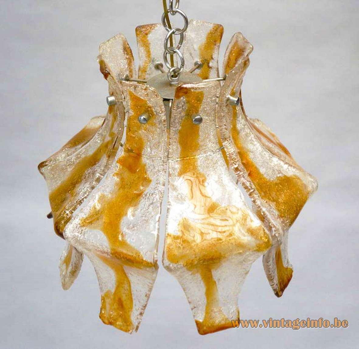 AV Mazzega amber foliate pendant lamp design: Carlo Nason 8 glass leaves chrome frame chain 1970s