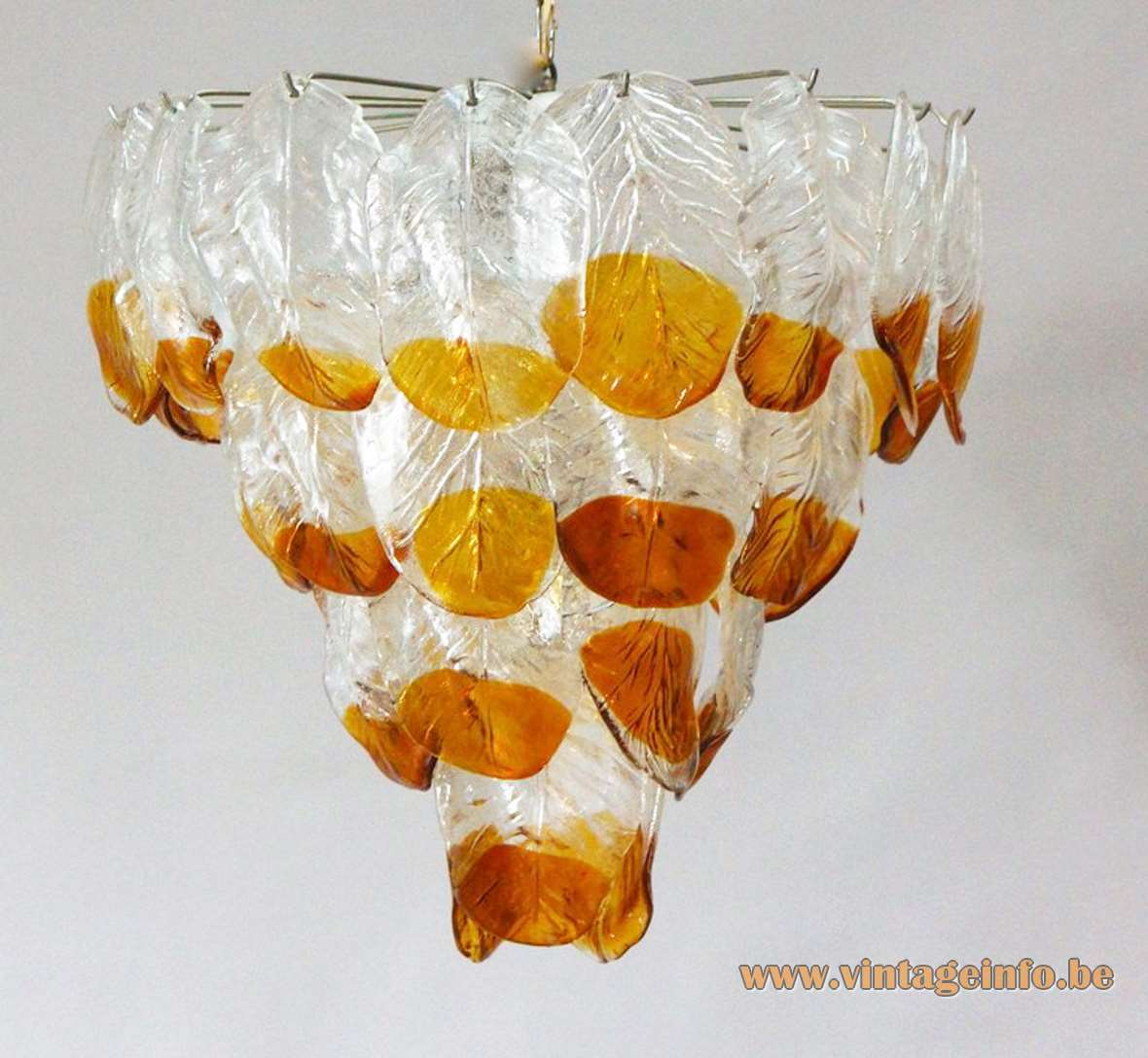 AV Mazzega glass leaves chandelier 36 amber leaves chrome frame chain Carlo Nason Murano 1960s 1970s