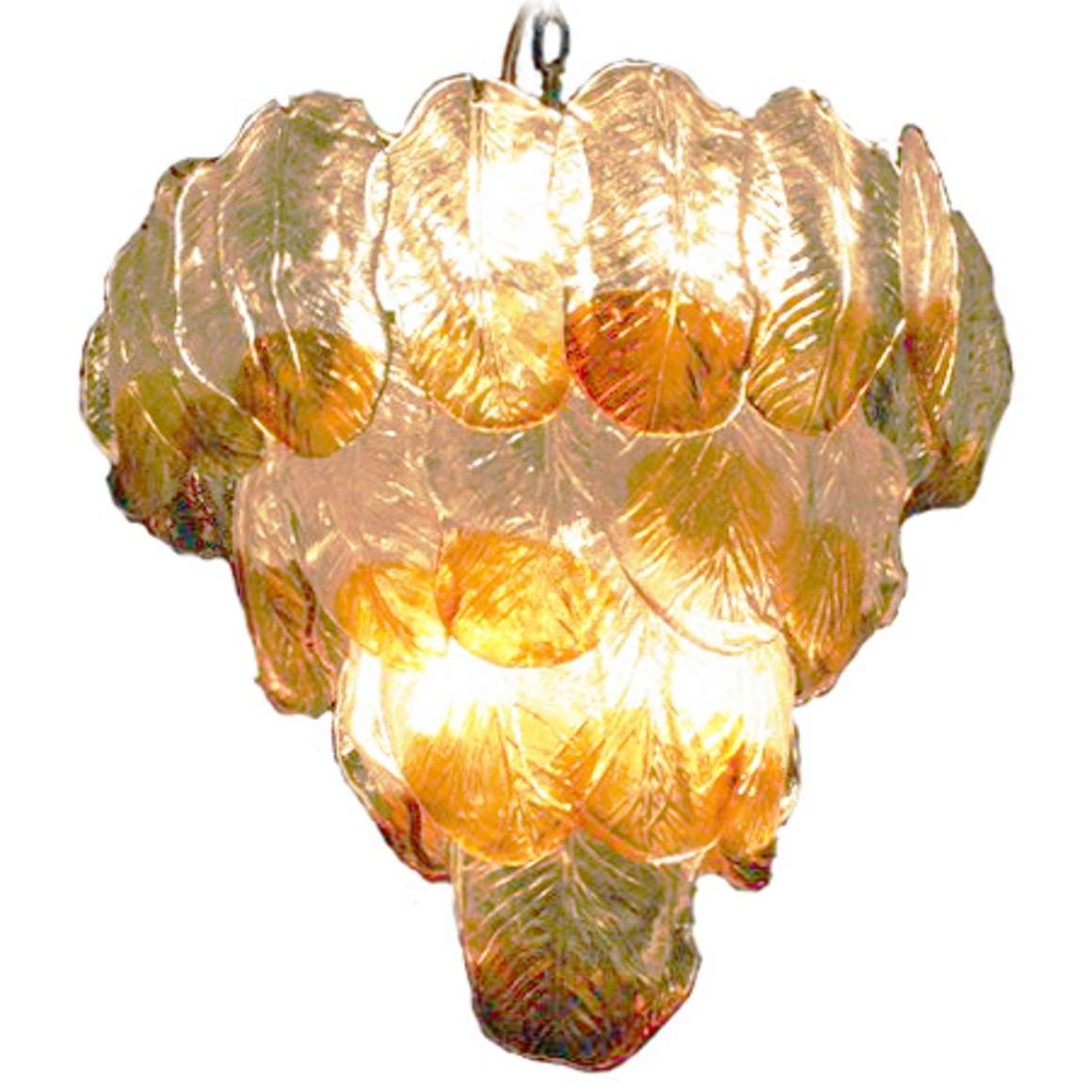AV Mazzega Glass Leaves Chandelier