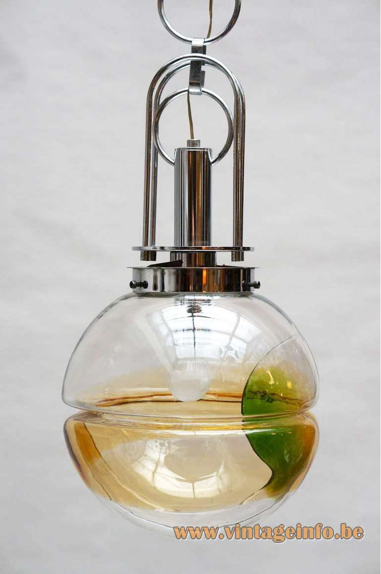 AV Mazzega Murano glass globe pendant lamp design: Carlo Nason chrome chain yellow green 1960s 1970s Italy