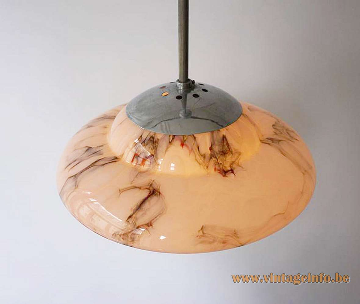 Marbled Glass Art Deco Saturn Pendant Lamp