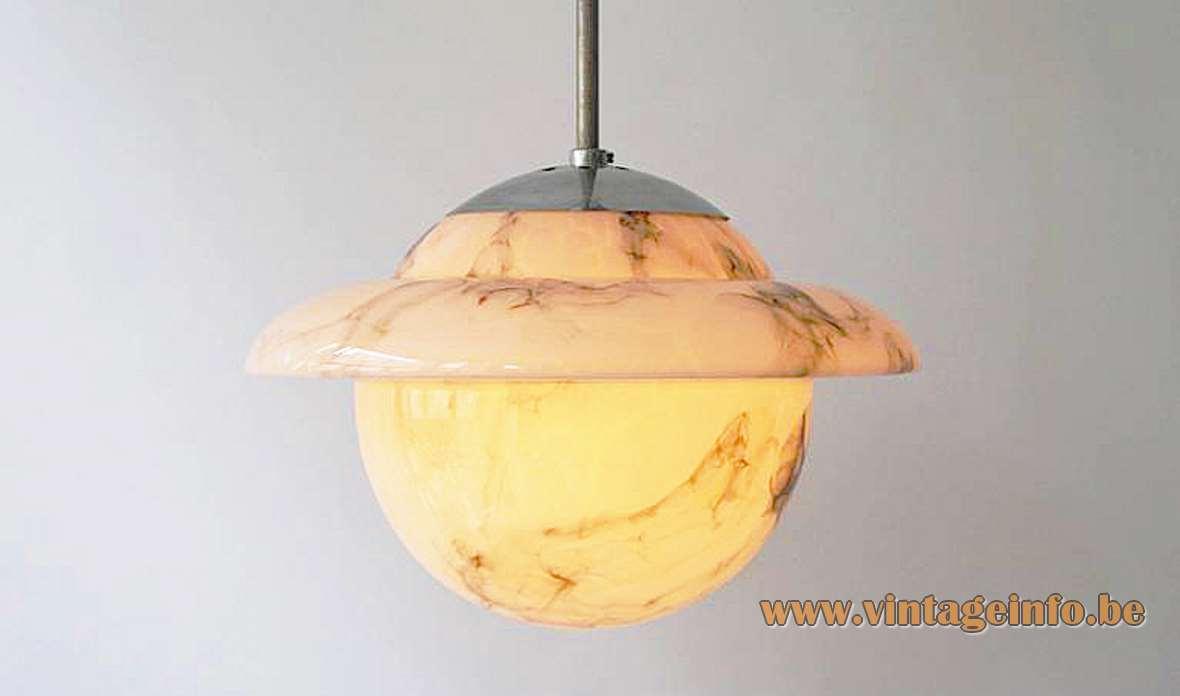 Marbled glass art deco Saturn pendant lamp veined globe chrome rod 1920s 1930s Bauhaus E27 socket