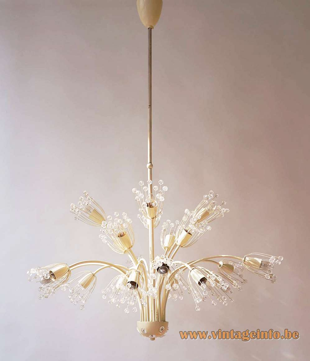 Emil Stejnar flowers chandelier white metal curved rods glass beads pearls Rupert Nikoll Austria 1950s 1960s