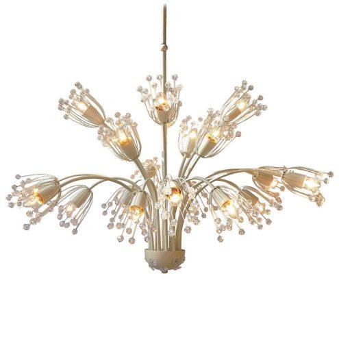 Emil Stejnar flowers chandelier white metal curved rods glass beads pearls Rupert Nikoll Austria 1950s 1960s