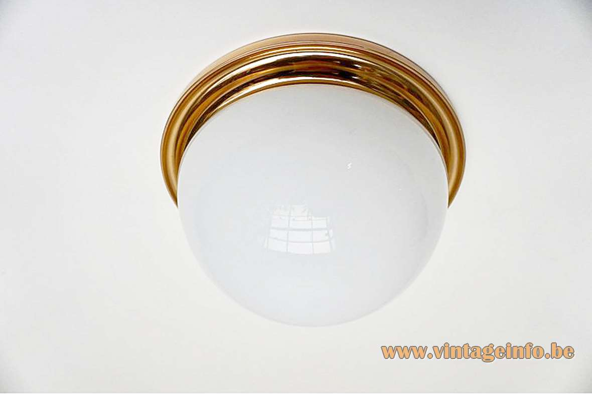 Glashütte Limburg half round opal flush mount white glass lamp brass ring 1970s 1980s Germany