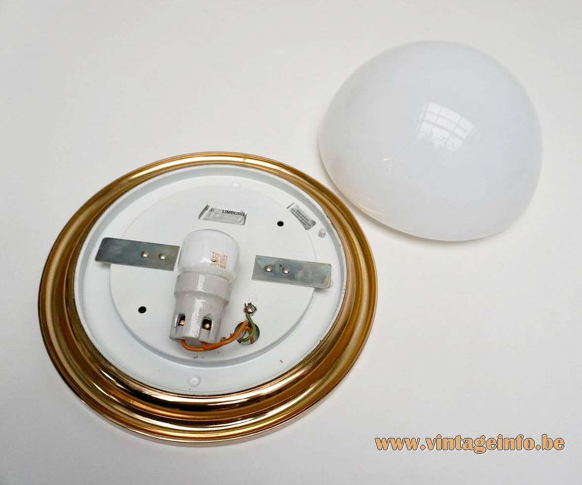 Glashütte Limburg half round opal flush mount white glass lamp brass ring 1970s 1980s Germany inside
