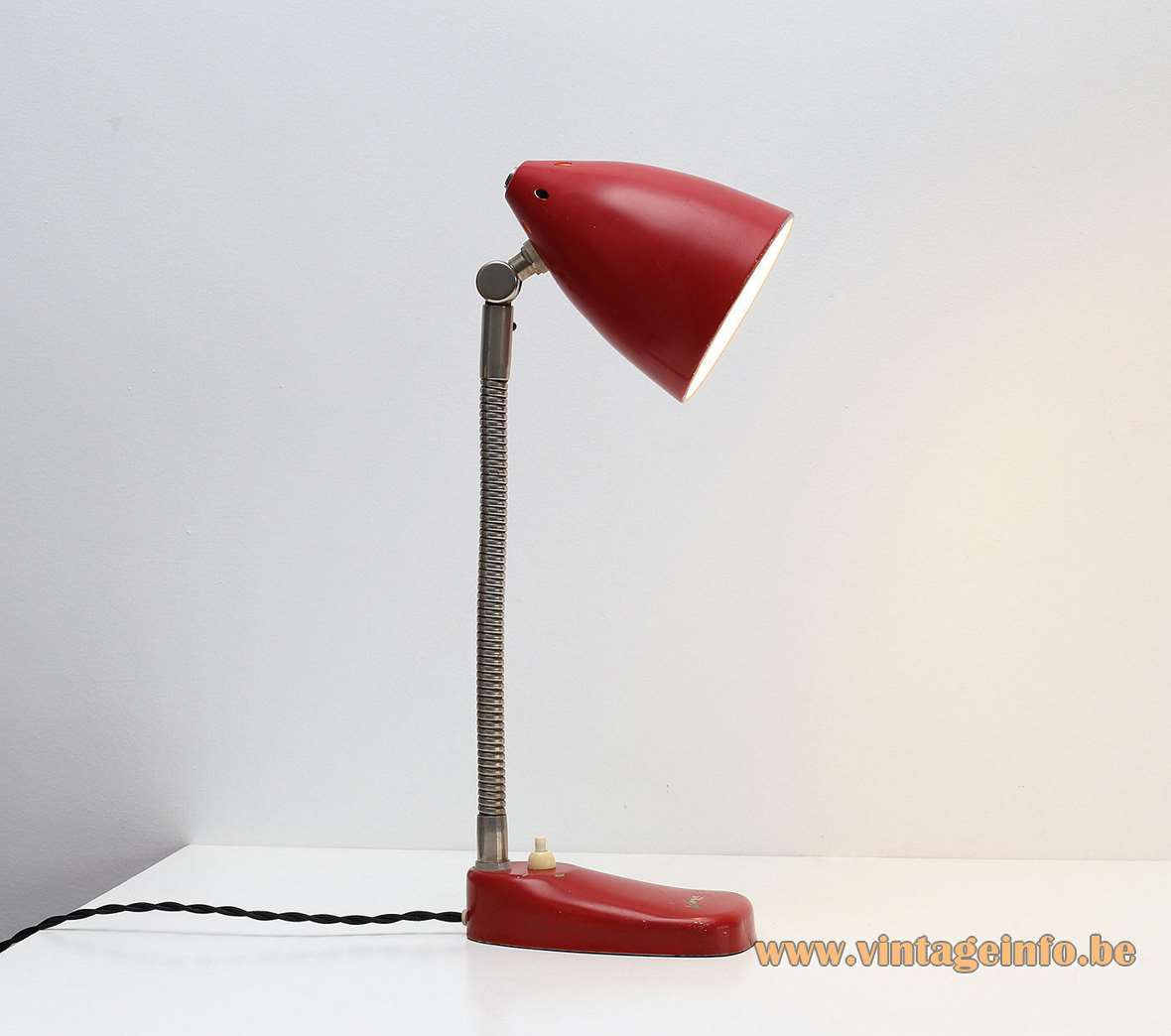 Hala Zeist desk lamp 13 red base chrome gooseneck joint perforated red conical lampshade 1950s 1960s