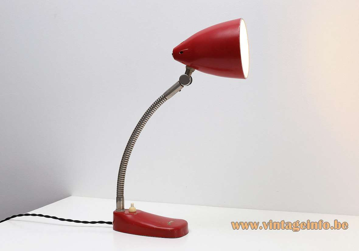 Hala Zeist desk lamp model 13 chrome gooseneck and joint perforated round lampshade 1950s 1960s MCM