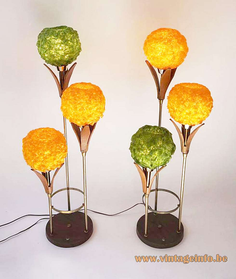 Lampcraft Industries floor lamp black round base plastic swag flowers wood leaves Deena Products 1950s 1960s