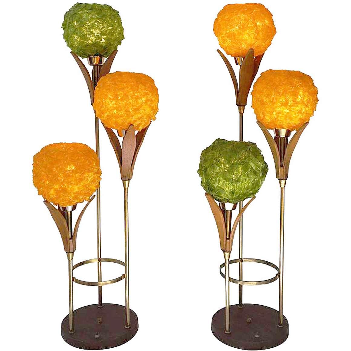 Lampcraft Industries swag flowers floor lamp spaghetti plastic Deena Products MCM Mid-Century Modern 1950s 1960s