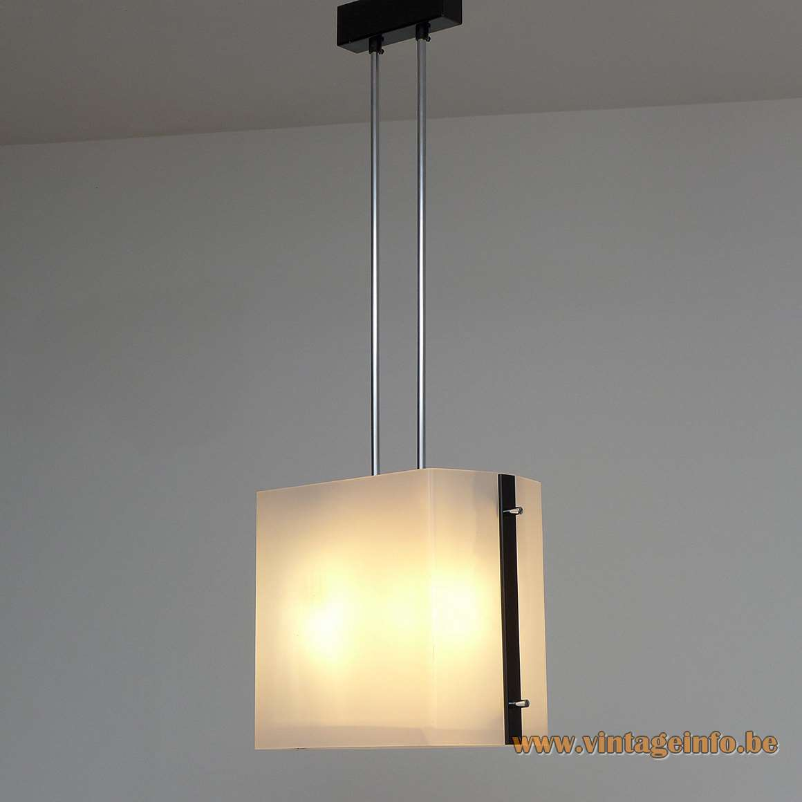 Lidokov acrylic pendant lamp white Perspex 2 chrome rods chrome ornamental screws Czech Republic 1960s 1970s Mid-Century Modern