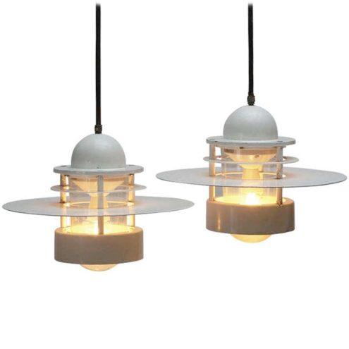 Louis Poulsen Albertslund pendant lamp design: Jens Møller-Jensen white round metal Saturn light Denmark 1960s