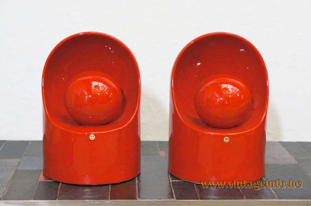 Marcello Cuneo red porcelain table lamp half round glazed ceramics Venezia Philips 1970s Gabbianelli Italy