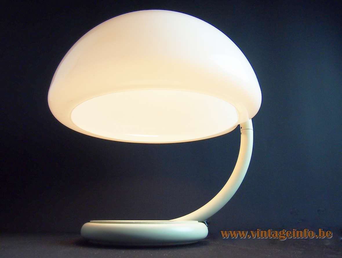 Martinelli Luce Serpente table lamp 1965 design: Elio Martinelli white acrylic lampshade curved metal rod 1960s