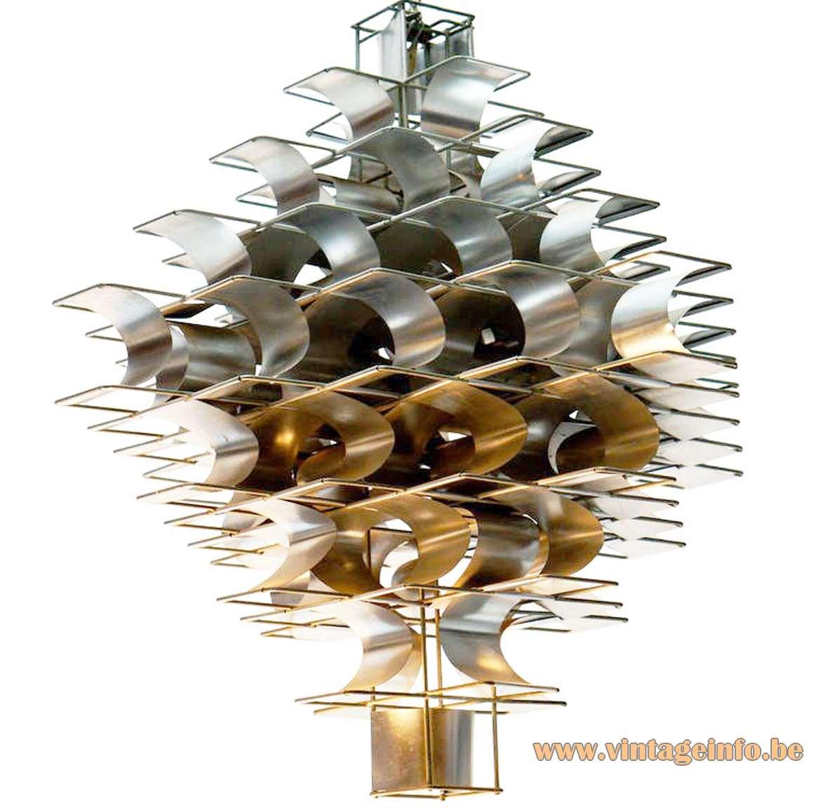 Max Sauze Cassiopé pendant lamp 1970s design curved folded aluminium slats metal iron wire frame France