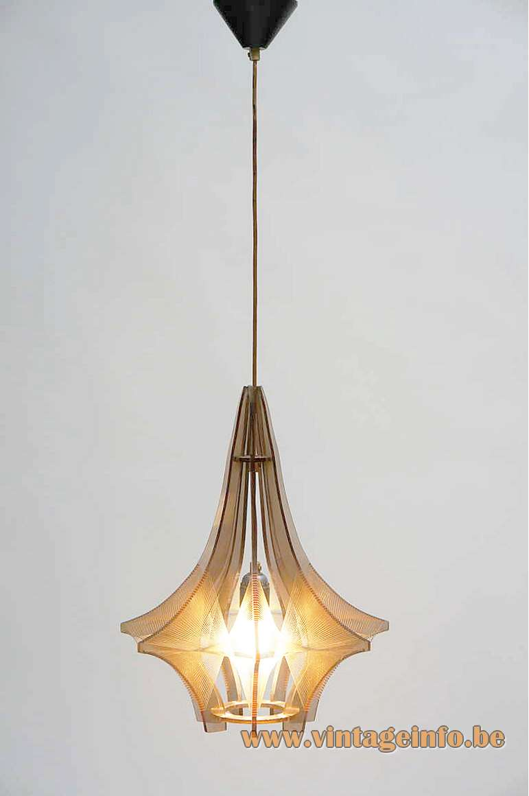 Paul Secon Sompex pendant lamp smoked acrylic slats Perspex nylon thread braided plastic wire 1960s 1970s