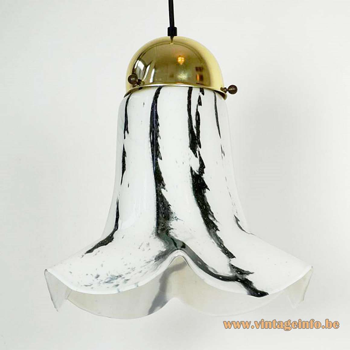 Peill + Putzler black & white petunia pendant lamp striped glass hanging flower 1960s 1970s Germany