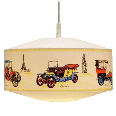Philips NPD 245 oldtimer pendant lamp round plastic light decorated with old cars 1960s 1970s MCM