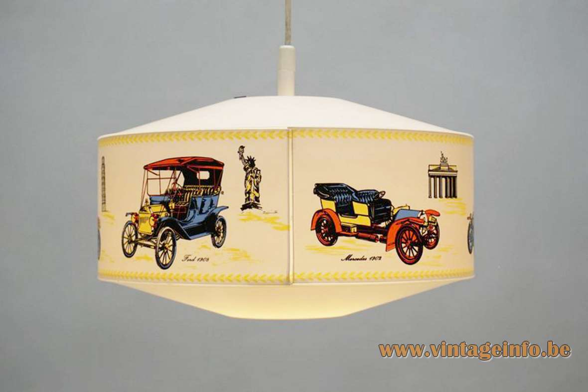 Philips NPD 245 oldtimer pendant lamp round white plastic light decorated with old cars 1960s 1970s