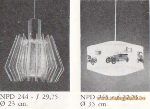 Philips NPD 245 Oldtimer Pendant Lamp - Catalogue 1967