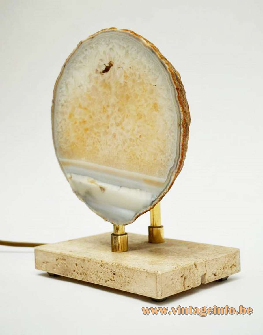 Pierre Faveere agate table lamp travertine base Willy Daro Henri Fernandez France Belgium stone mineral 1970s