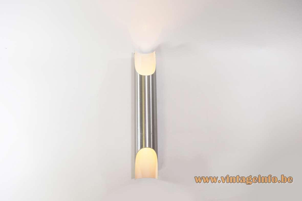 Raak Fuga aluminium wall lamp brushed tube organ pipe design: Maja Liisa Komulainen 1960s 1970s vintage