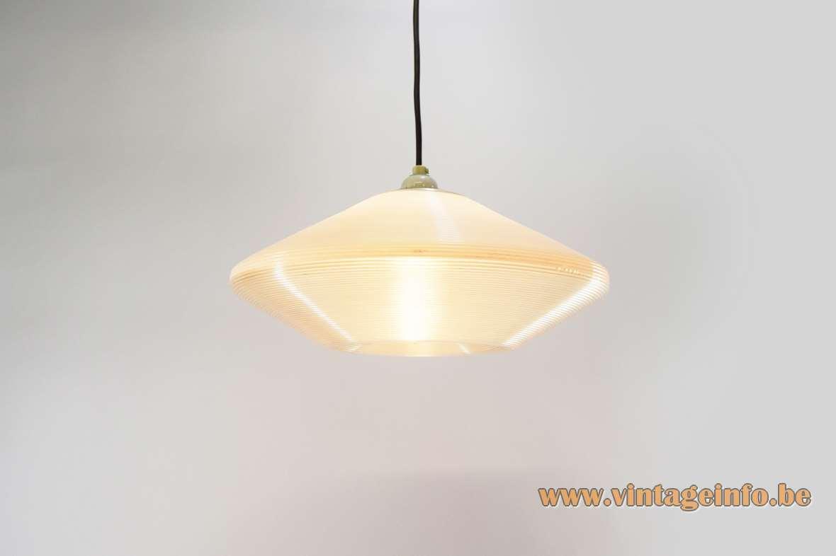 Rotaflex UFO pendant lamp white translucent ribbed cellulose acetate design: John Sylvia Reid acrylic 1950s 1960s