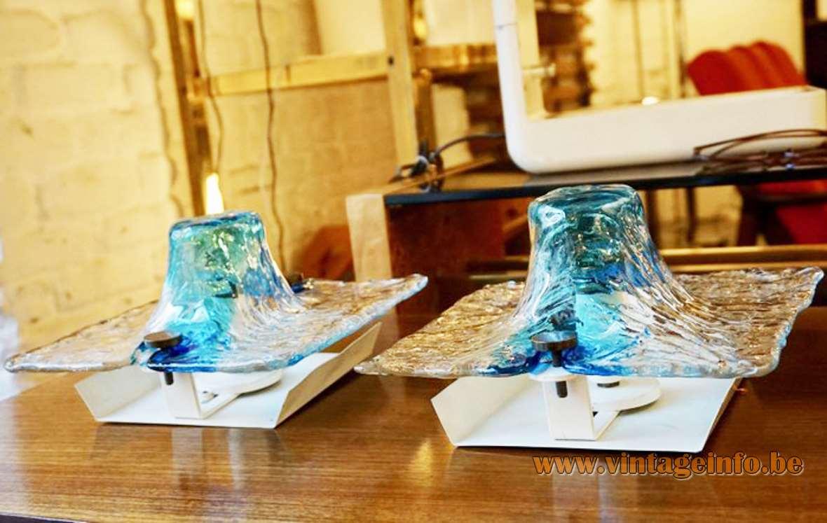 Toni Zuccheri wall lamp clear & blue square Murano glass Venini Italy 1960s 1970s MCM Mid-Century Modern