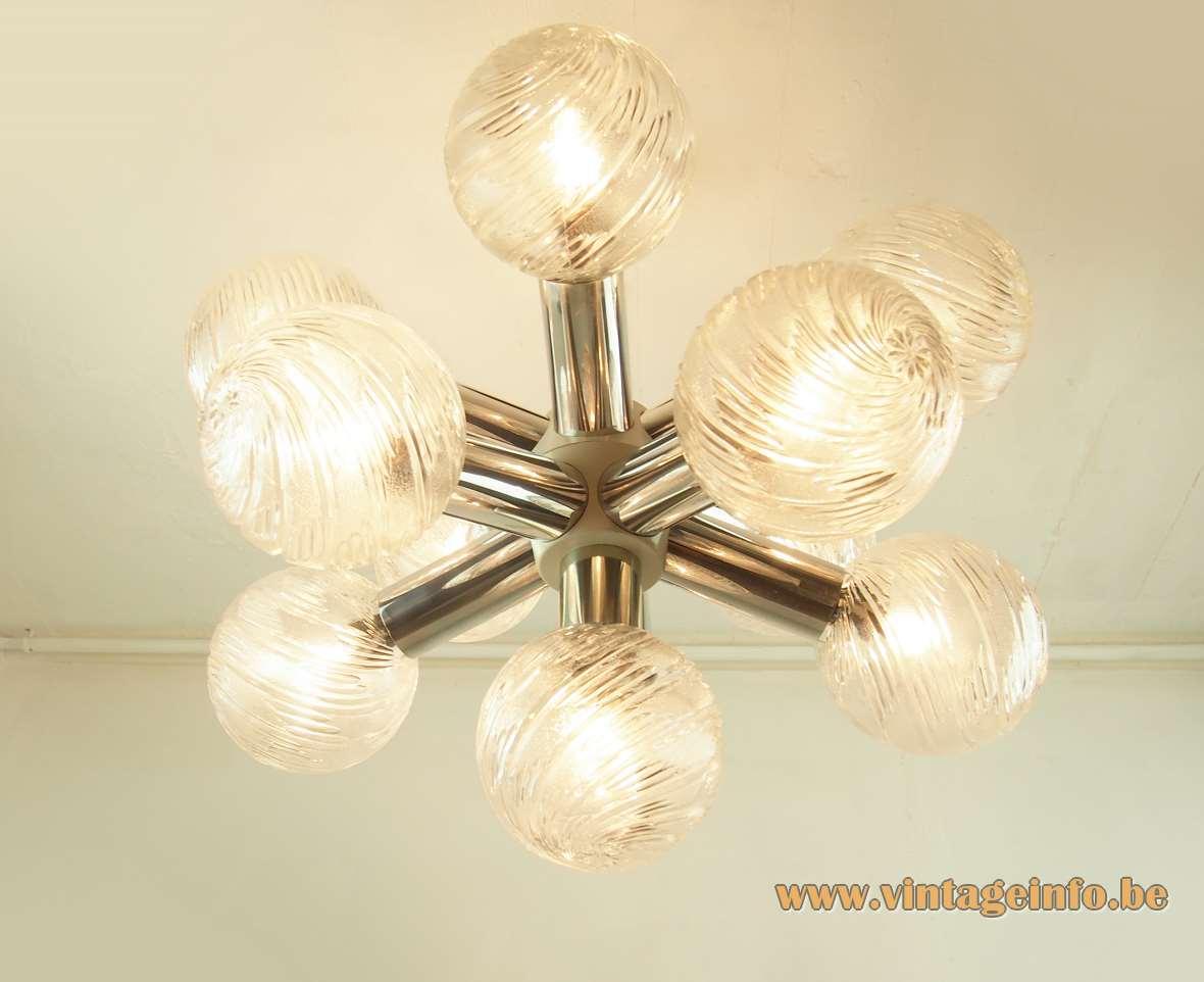 VEB Wohnraumleuchten Sputnik Globes Chandelier