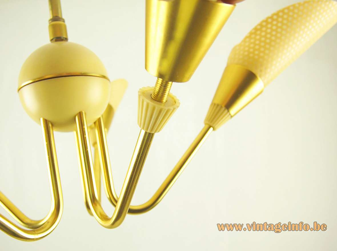 1950s ERCO chandelier Bakelite globe plastic anodised aluminium brass 5 E27 light bulbs 1960s Germany MCM