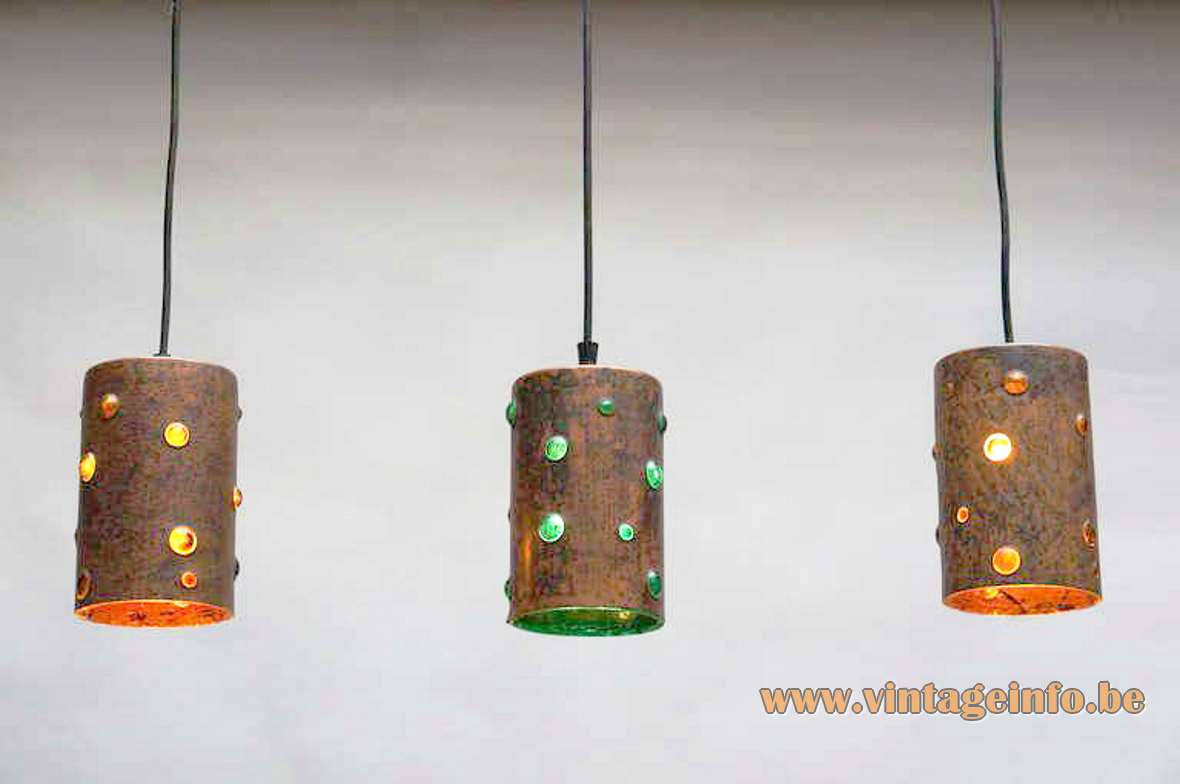1960s caged glass copper tube pendant lamps Nanny Still-Mackinney Raak Peill + Putzler Philips brutalist 1970s MCM