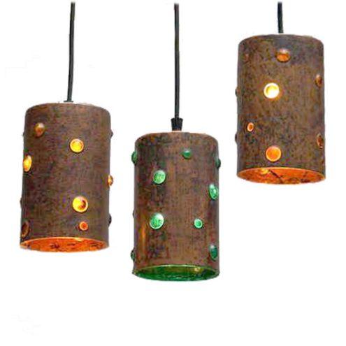 1960s caged glass copper tube pendant lamps Nanny Still-Mackinney Raak Peill + Putzler Philips brutalist 1970s MCM