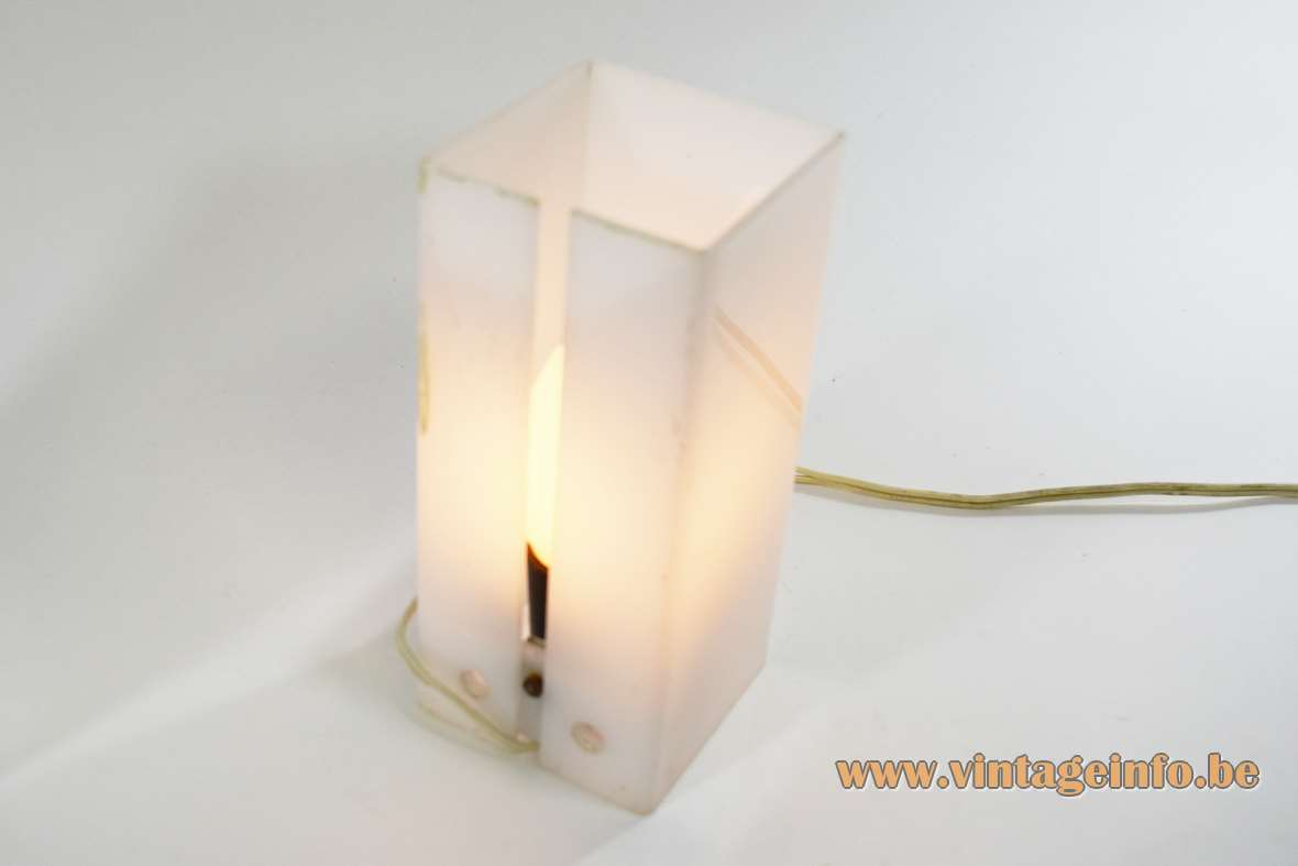 1960s cuboid acrylic wall lamps design: Yki Nummi white Perspex plastic Sanka Oy Stockmann ORNO Finland