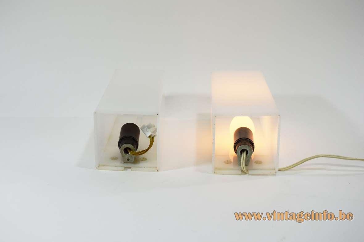 1960s cuboid white acrylic wall lamps design: Yki Nummi produced: Sanka Oy Stockmann ORNO Finland MCM
