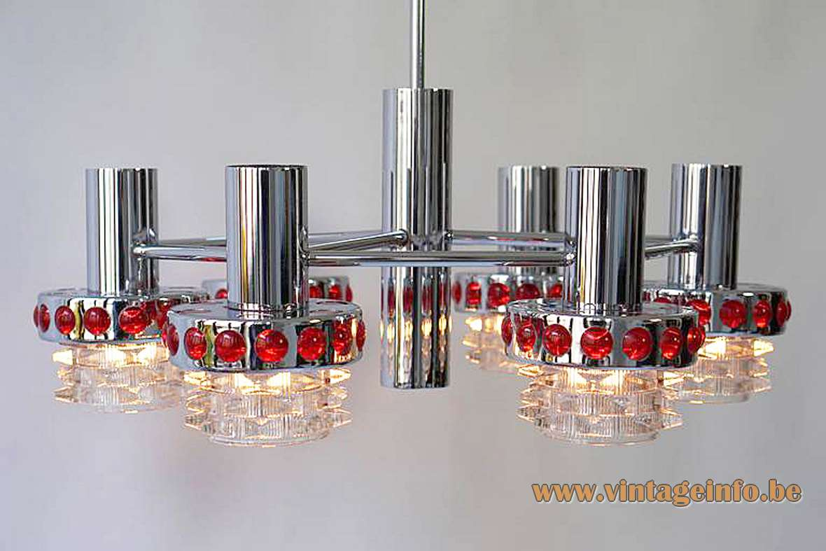 1960s red glass & chrome chandelier Raak Amsterdam clear pressed glass Massive Belgium 1970s Mid-Century Modern