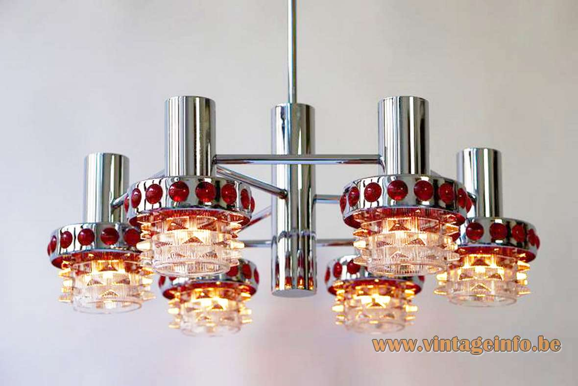 1960s red glass & chrome chandelier pressed dots metal tubes Massive Belgium Raak Amsterdam 1970s