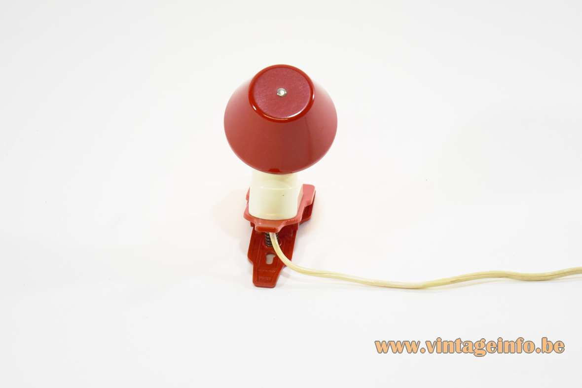 1960s Vimar plastic clamp lamp Italy small reading light E14 lamp socket MCM Mid-Century Modern