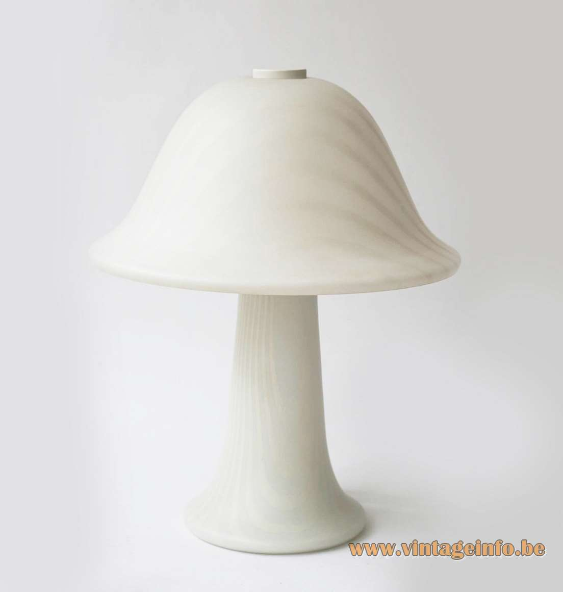 1970s Peill + Putzler mushroom table lamp striped opal satinised glass 1970s 1980s Mid-Century Modern MCM