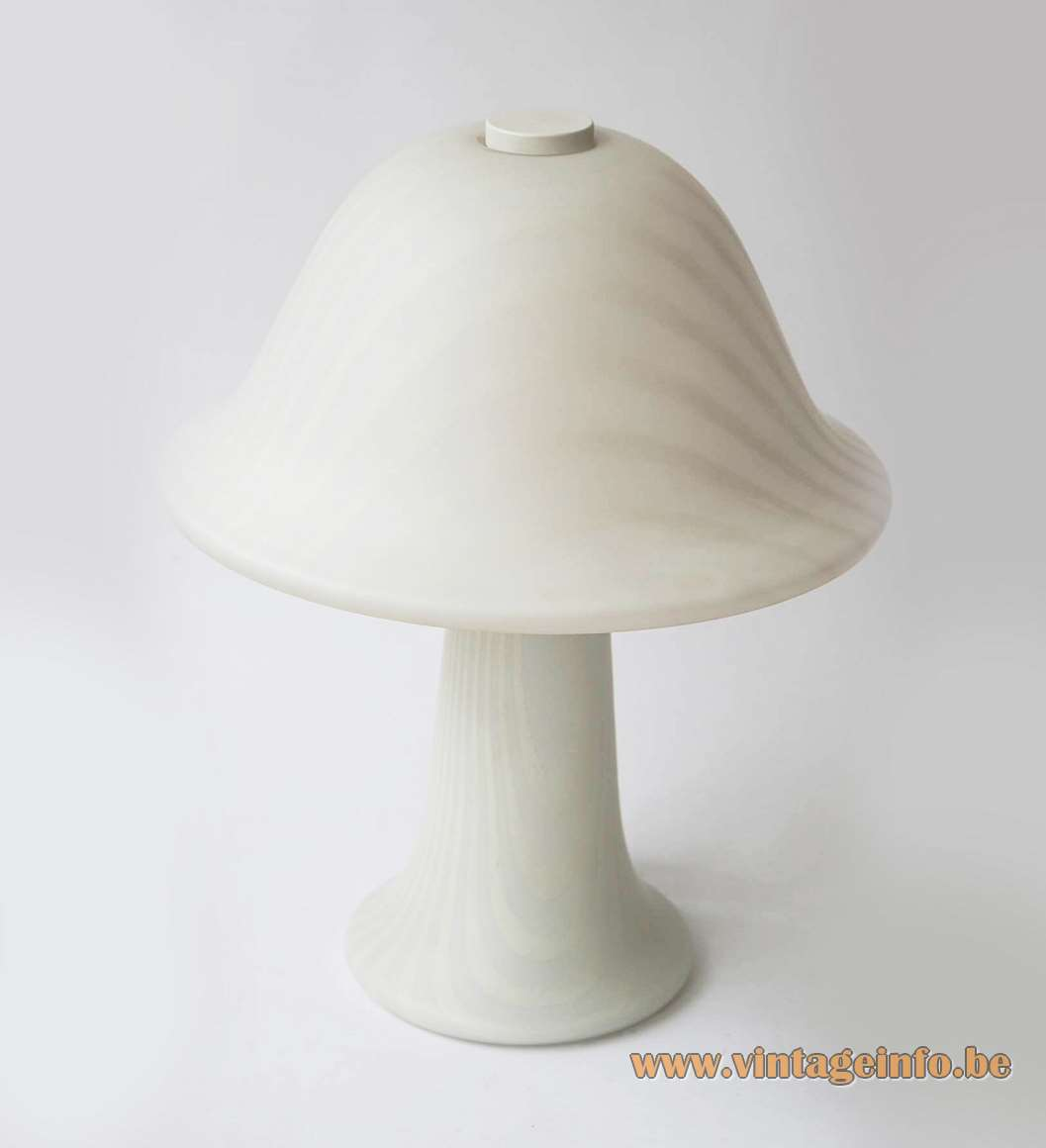 1970s Peill + Putzler mushroom table lamp white striped opal satinised frosted glass 1980s Germany E27 socket