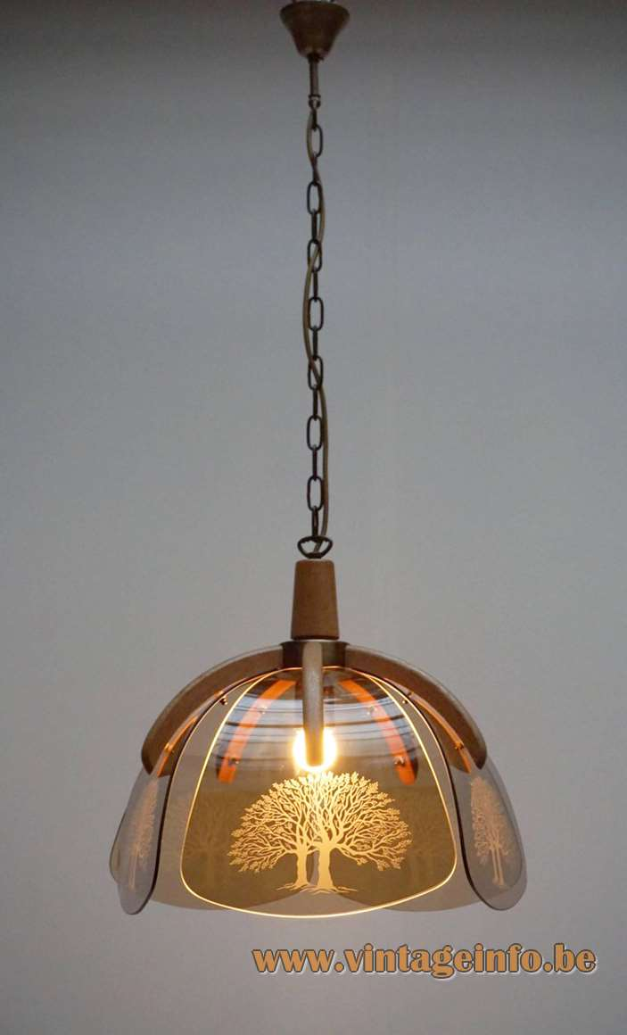 1980s Baum Pendant Lamp curved smoked glass plates decorated with a tree Baum E27 socket Massive, Belgium
