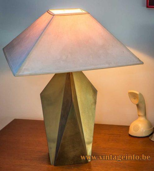 1980s Brass Geometric Table Lamp - Massive, Belgium