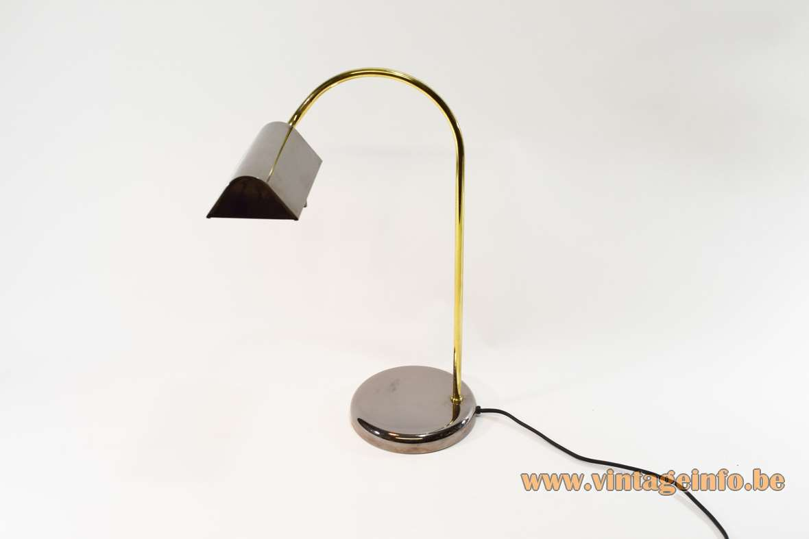 1980s dimmable desk lamp black round chrome base brass curved rod conical lampshade Massive Belgium 1990s