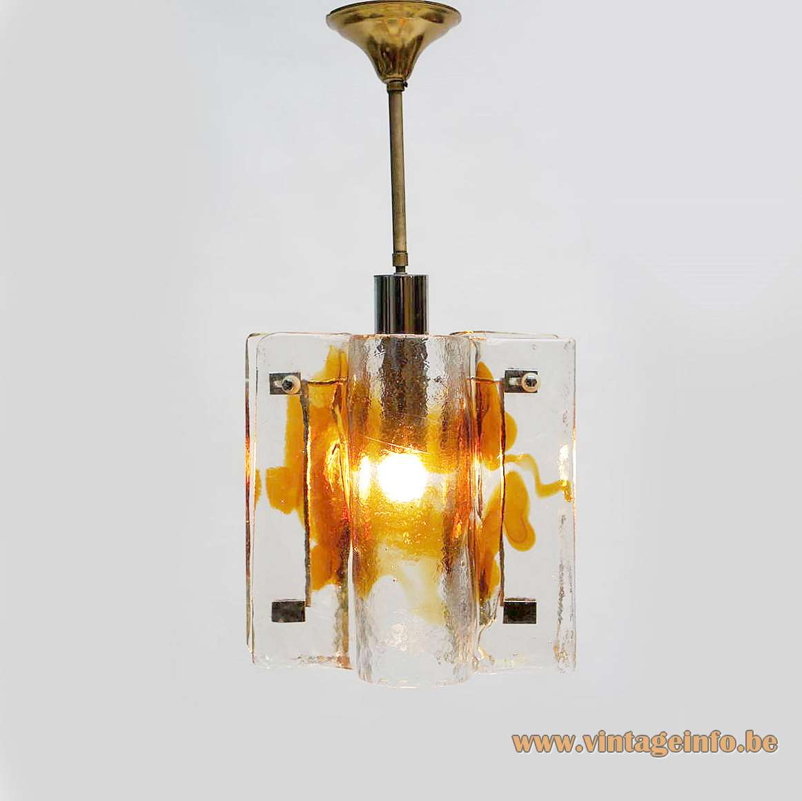 AV Mazzega amber and clear glass pendant lamp brass rod crome tube curved parts Murano 1970s