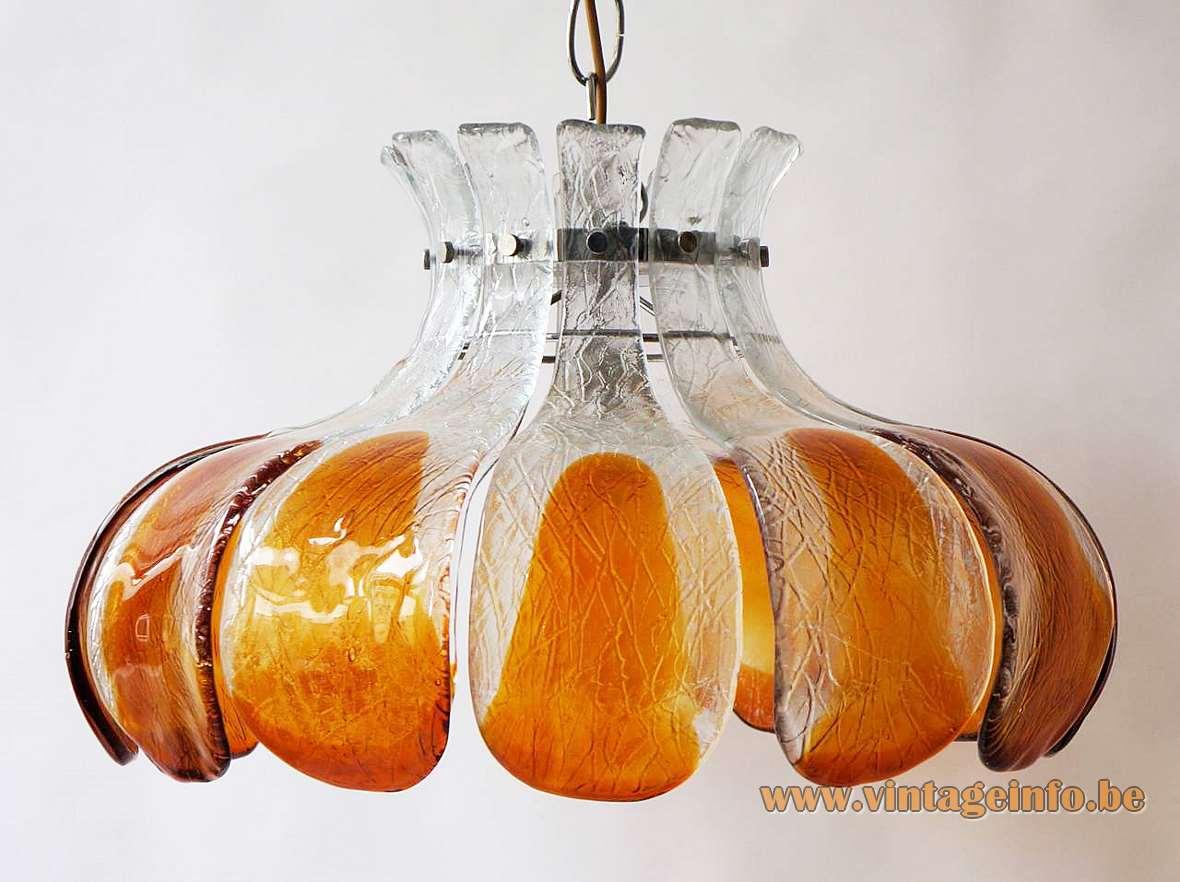 AV Mazzega amber glass flower chandelier design: Carlo Nason 10 glass leaves chrome frame 1960s 1970s MCM