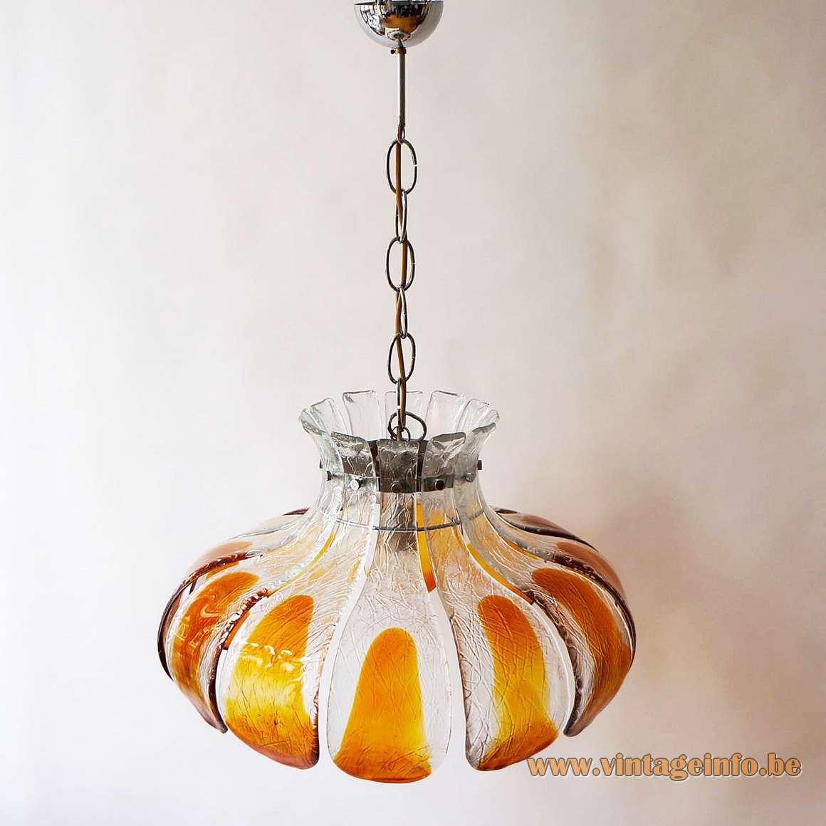 AV Mazzega Amber Glass Flower Chandelier