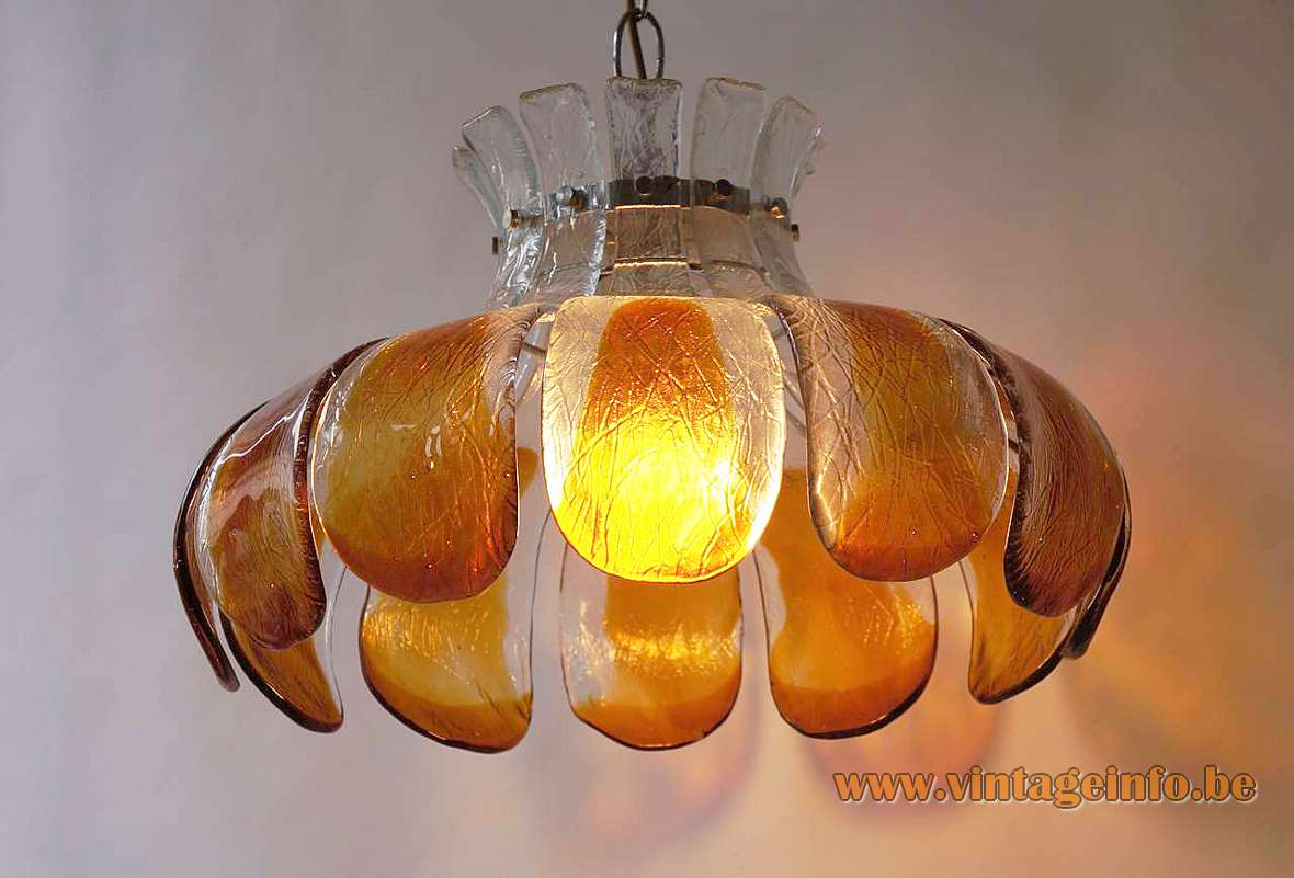 AV Mazzega amber glass flower pendant lamp 10 glass leaves petals chrome frame chain 1960s 1970s