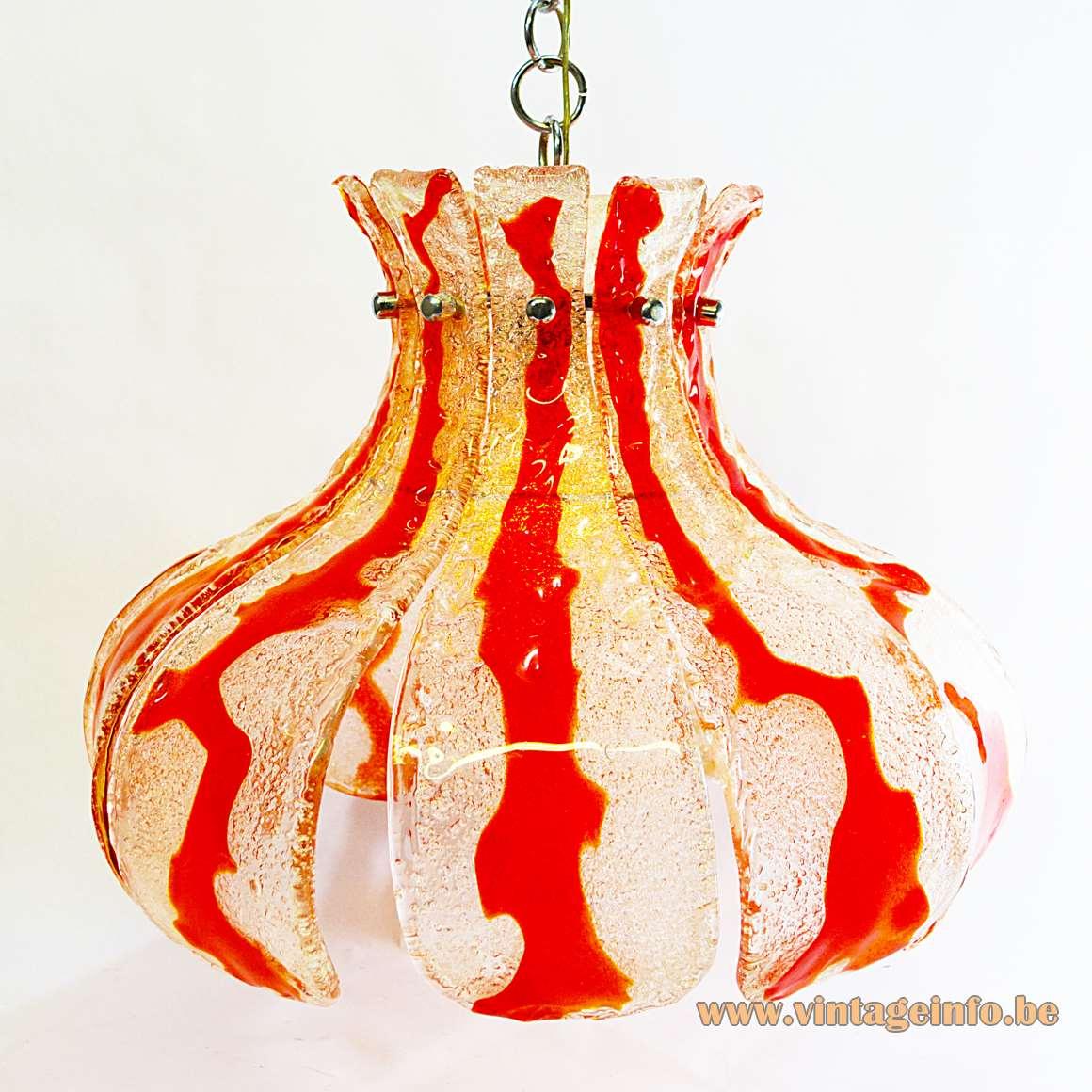 AV Mazzega orange crystal glass chandelier design: Carlo Nason 10 glass leaves chrome frame 1960s 1970s MCM