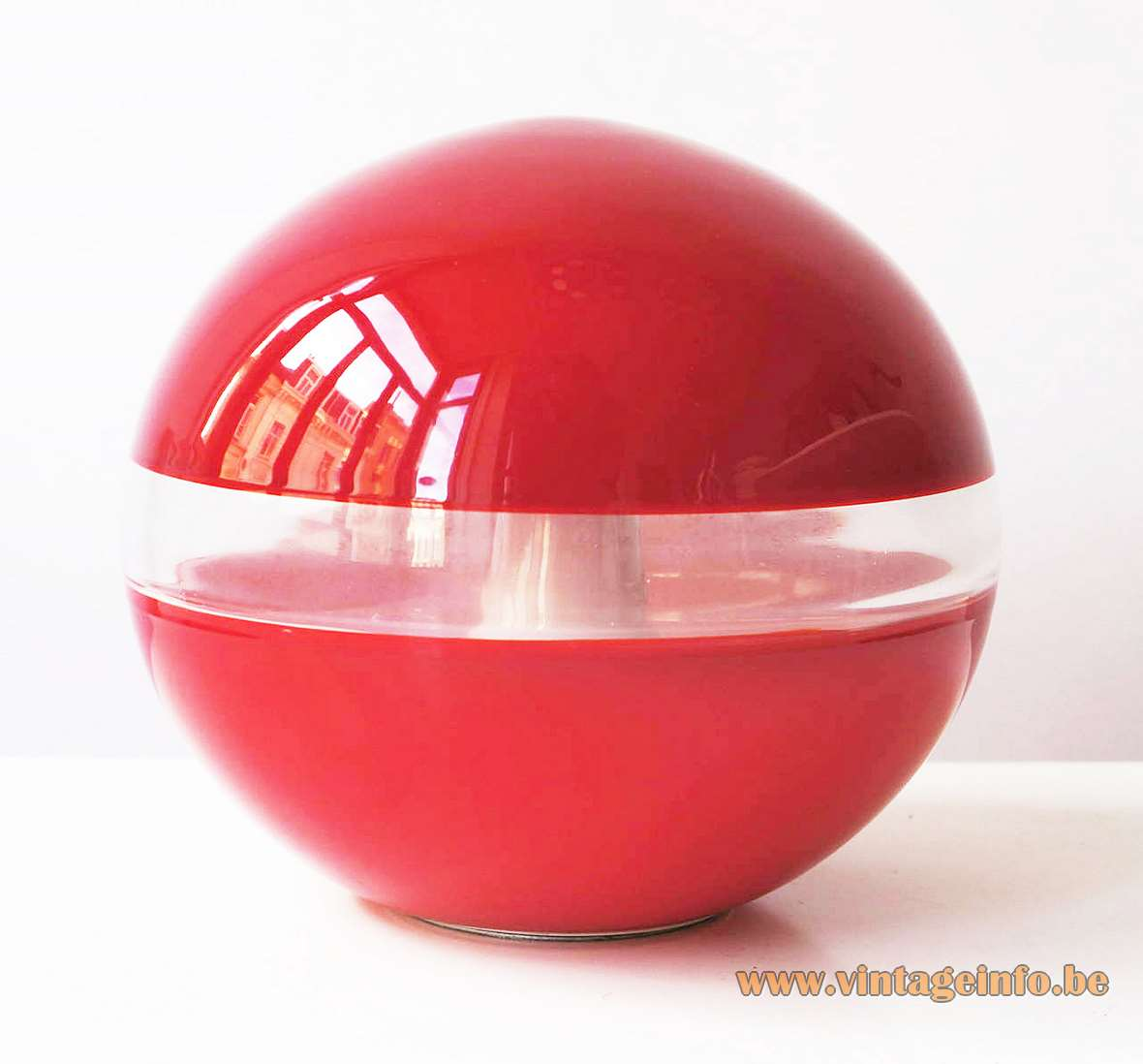 AV Mazzega Red & White Globe Table Lamps