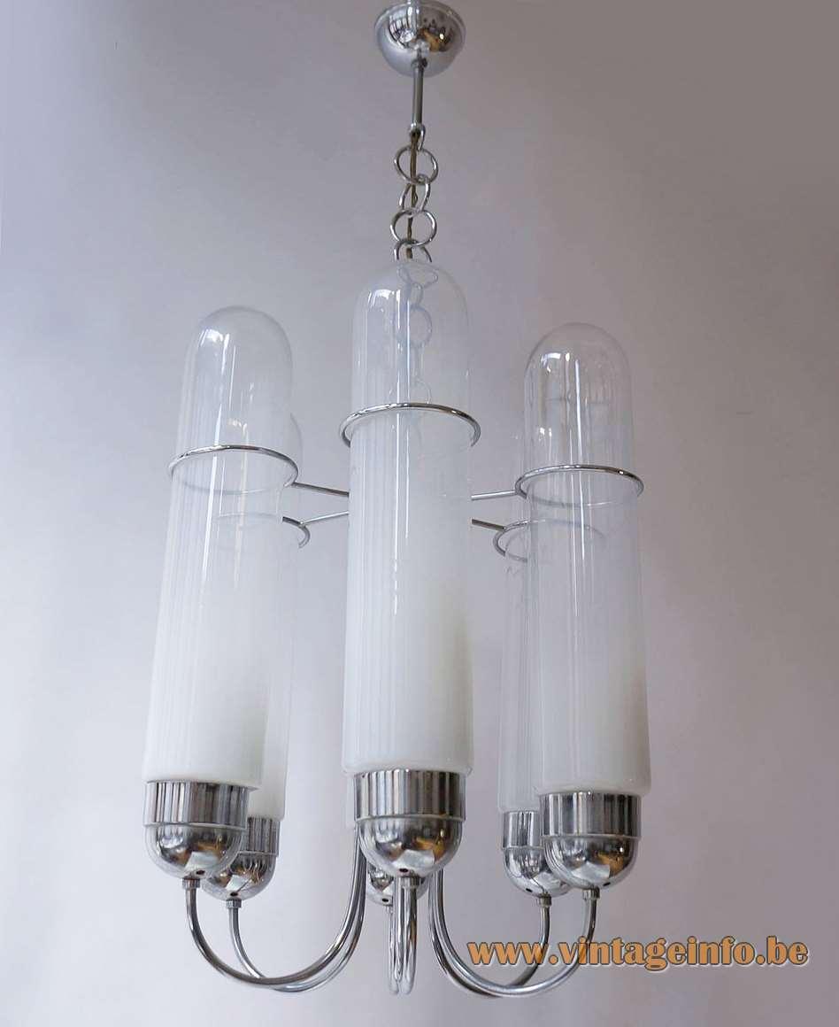 AV Mazzega chandelier Torpedo design: Aldo Nason clear & opal Murano glass tubes chrome 1960s 1970s Mid-Century Modern MCM vintage